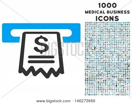Cashier Receipt vector bicolor icon with 1000 medical business icons. Set style is flat pictograms blue and gray colors white background.
