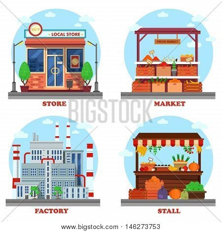 Local store or shop, market and stall with goods or counter for groceries, factory or plant with chimney and pipes. Outdoor exteriors of business buildings and trading constructions. eps 10