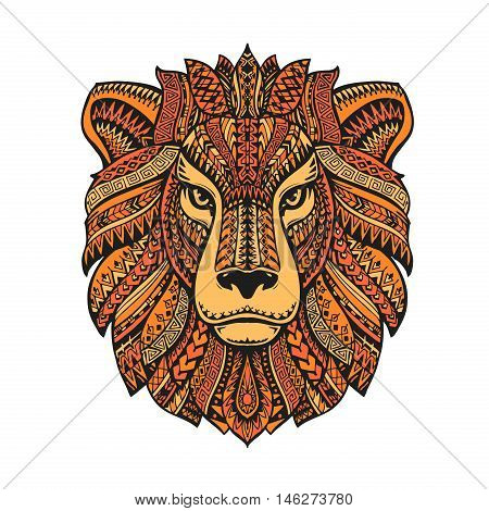 Lion head isolated on white background. Hand-drawn vector illustration with ethnic patterns
