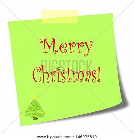 merry christmas green post it note on white background