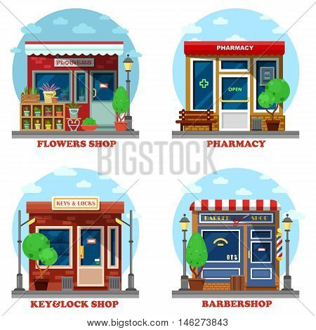 Facade of shop and stores outdoor exterior. Flower business and pharmacy or drugstore, lock and key repair and creating, barbershop with scissor for shaving and haircut. Good for urban panorama view. eps 10
