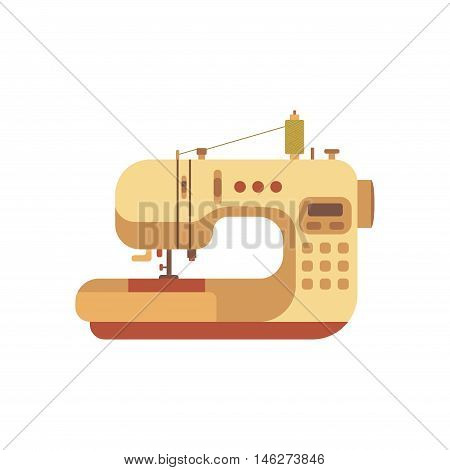 Vector colorful sewing machine illustration. Flat sewing machine infographic design elements: scissor, pin, iron. Tailoring industry concept of dressmaking tools icons. Sewing workshop illustration.