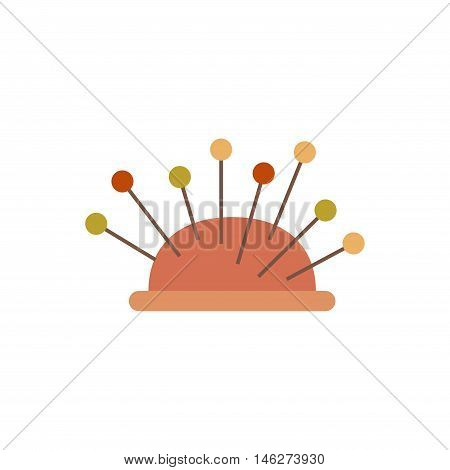 Tailor pins flat icon. Vector tailor pins silhouette illustration. Colorful tailor pins isolated icon for your design.