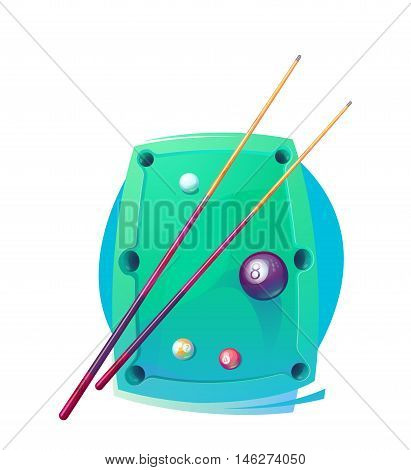 Vector Design Billiards, pool and snooker sport icon. Poolroom emblems design with balls, logo. Vector Illustration. Isolated on White.