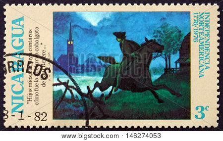 NICARAGUA - CIRCA 1975: a stamp printed in Nicaragua shows The Midnight Ride of Paul Revere American Bicentennial circa 1975