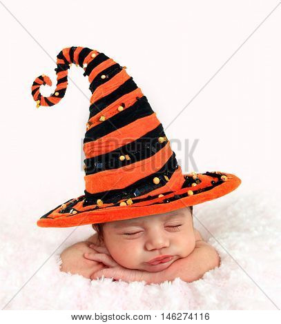Newborn baby girl wearing a Halloween witch hat.
