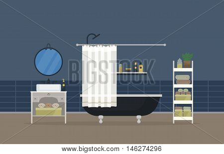 Bathroom interior, home room for hygiene. Sink with faucet and mirror, bathroom with shower head and valve, hand and body towel and gel, washbasin with shampoo and soap, lotion and deodorant
