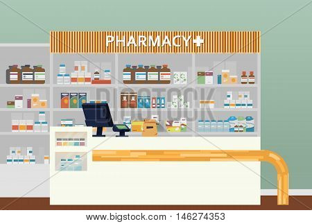 Medical pharmacy or drugstore interior design. Chemist or apothecary, dispensary and clinical, ambulatory or community shop for pills or tablets, lozenge in flasks. Medicine and healthcare theme