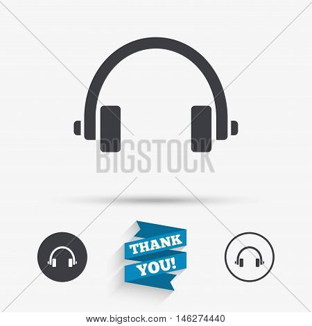 Headphones sign icon. Earphones button. Flat icons. Buttons with icons. Thank you ribbon. Vector