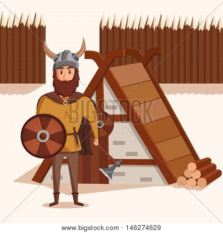 Viking with helmet with horns and axe, shield near lumbermill. Ancient norwegian warrior with mustache and shield near wooden fence. Can be used for historical military and scandinavian theme