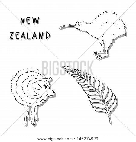 New Zealand symbols. A set of black line cartoon icons: Kiwi bird a sheep a silver fern branch. vector illustration drawn by hand. It can be used for coloring printing logo buttons cards.