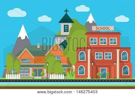 Flat city poster with landscape School and city buildings on a mountains background vector illustration