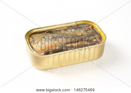 tin of sardines in oil on white background