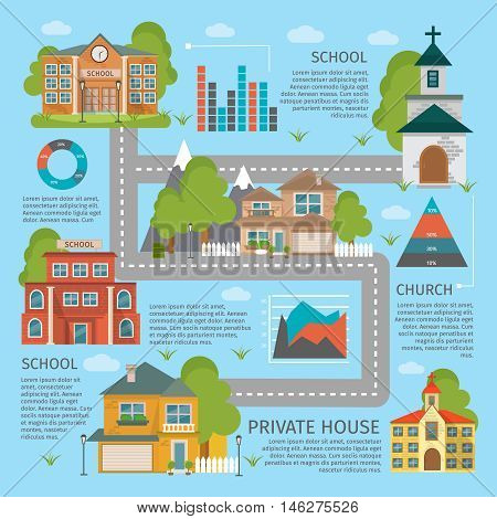 Colored building school church infographics with private houses descriptions and roads vector illustration