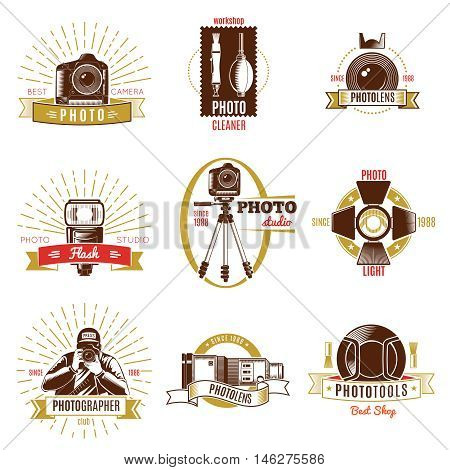 Retro photographer label set with gold and red ribbons different titles on photography theme vector illustration