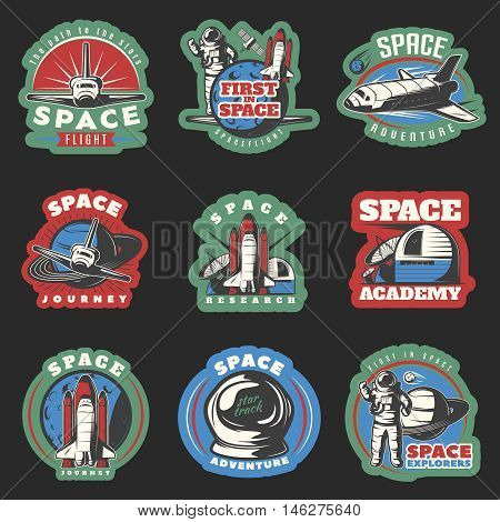 Space flights and research colored emblems with cosmic equipment on black background isolated vector illustration
