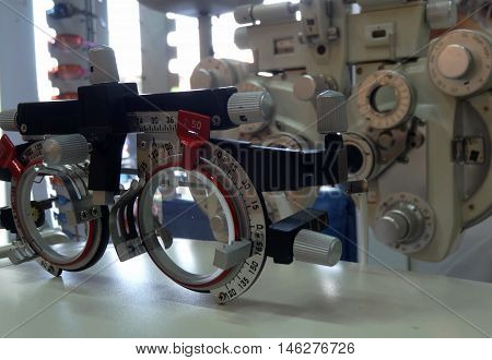 Optometric equipment for ophthalmology diagnostics stock photo