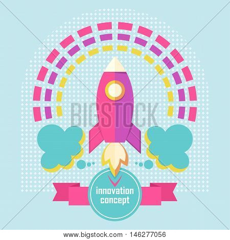 Vector innovation concept with rocket. Design elements for marketing advertising promotion branding and media. Flat cartoon illustration. Objects isolated on a white background.