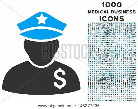 Financial Policeman vector bicolor icon with 1000 medical business icons. Set style is flat pictograms blue and gray colors white background.