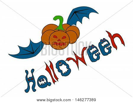 Halloween (All hallows' day) - autumn holiday in Britain, Scotland and Ireland. Pumpkin with eyes and mouth flying bat wings. The letters in the form of ghosts and evil beings.
