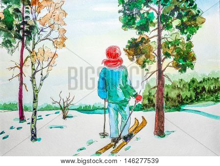 Watercolor drawing painting  female on ski in winer snow forest. Sport ski nature concept. Collection of hand made water color art draw paintings.