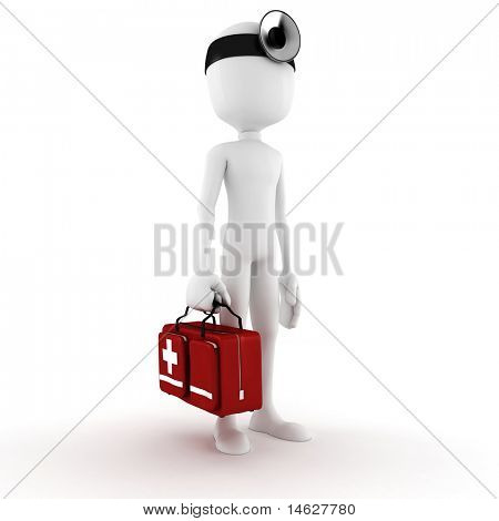 3d man doctor , on white background