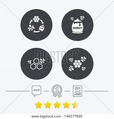 Honey icon. Honeycomb cells with bees symbol. Sweet natural food signs. Chat, award medal and report linear icons. Star vote ranking. Vector