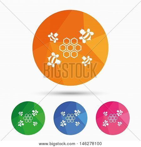 Honeycomb with bees sign icon. Honey cells symbol. Sweet natural food. Triangular low poly button with flat icon. Vector