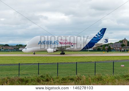 CHESTER United Kingdom - SEPTEMBER 04 2016: Airbus Beluga cargo transporter aeroplane. Airbus has five Beluga aircraft used to transport parts to facilities across Europe. This is Beluga number. Hawarden Airport September 4th 2016.