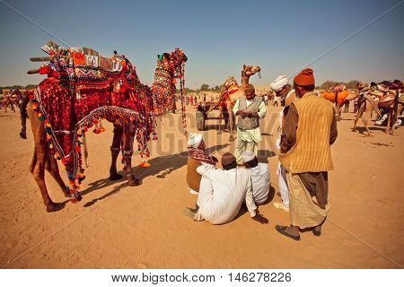 JAISALMER, INDIA - FEB 1, 2015: Desert landscape and villagers with camels relaxing during the Desert Festival of Rajasthan on February 1, 2015. Every winter Jaisalmer takes the famous Desert Festival