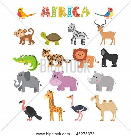 Animals Of Africa. Vector Set Of Cartoon Jungle Animals