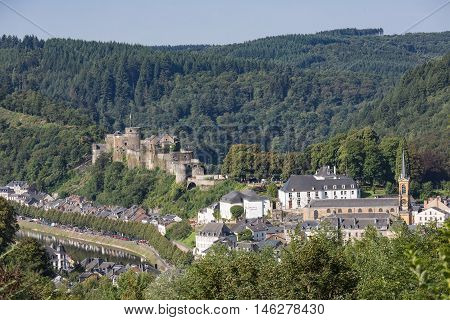 Aerial view of Bouillon along river Semois with medieval castle in Belgian Ardennes