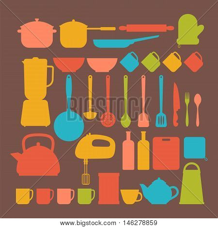 Kitchen Appliances. Cooking Tools And Kitchenware Equipment Silhouettes. Big Set