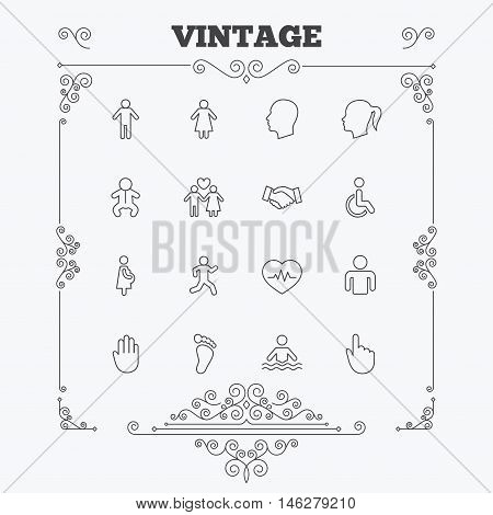 Human icons. Male and female symbols. Infant toddler and pregnant woman. Wheelchair for disabled. Success deal handshake. Vintage ornament patterns. Decoration design elements. Vector