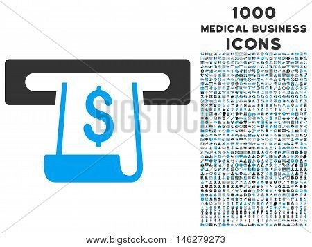 Paper Receipt Slot vector bicolor icon with 1000 medical business icons. Set style is flat pictograms blue and gray colors white background.