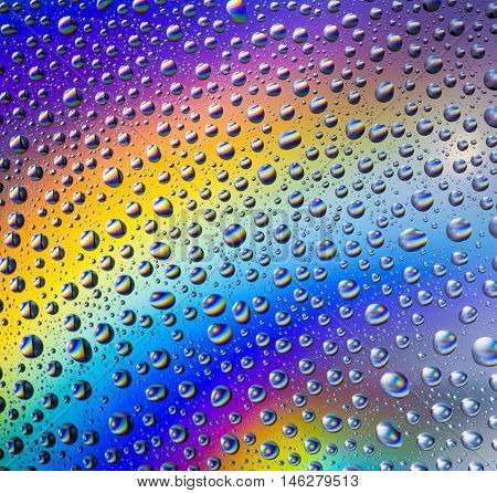 Abstract rainbow water drops multicolored macro background