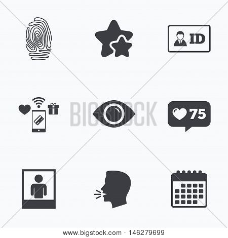 Identity ID card badge icons. Eye and fingerprint symbols. Authentication signs. Photo frame with human person. Flat talking head, calendar icons. Stars, like counter icons. Vector
