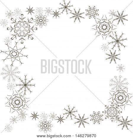 Winter background black snow-flakes on white, vector illustration