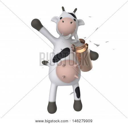 Vaca 3D segurando um latão com leite saindo.
