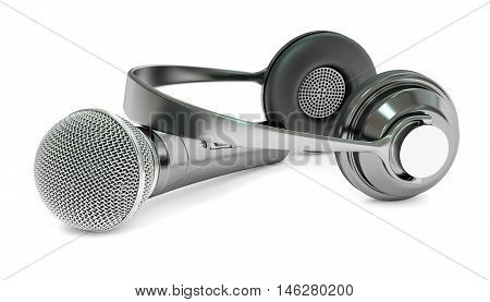 microphone and headphones 3D rendering on white