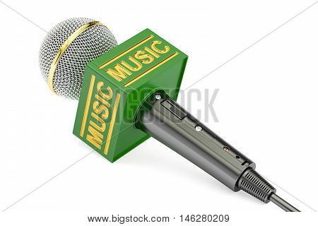 microphone music news concept 3D rendering isolated on white background
