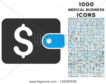 Purse vector bicolor icon with 1000 medical business icons. Set style is flat pictograms blue and gray colors white background.