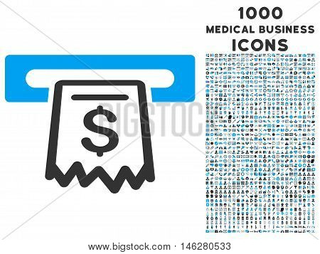 Receipt Terminal vector bicolor icon with 1000 medical business icons. Set style is flat pictograms blue and gray colors white background.