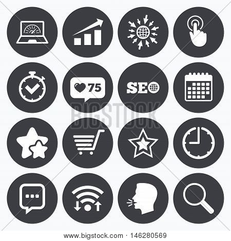 Calendar, wifi and clock symbols. Like counter, stars symbols. Internet, seo icons. Online shopping, charts and speed signs. Chat messages symbol. Talking head, go to web symbols. Vector