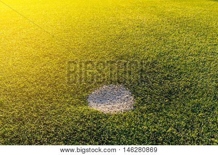 Soccer field pattern of penalty kick spot
