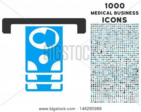 Withdraw Banknotes vector bicolor icon with 1000 medical business icons. Set style is flat pictograms blue and gray colors white background.