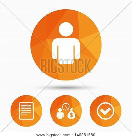 Bank loans icons. Cash money bag symbol. Apply for credit sign. Check or Tick mark. Triangular low poly buttons with shadow. Vector