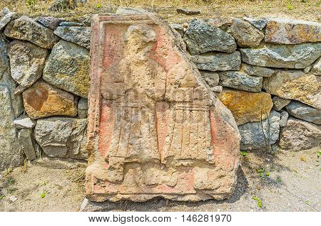 The preserved carved details in Vardzia monastic complex Samtskhe-Javakheti Region Georgia.