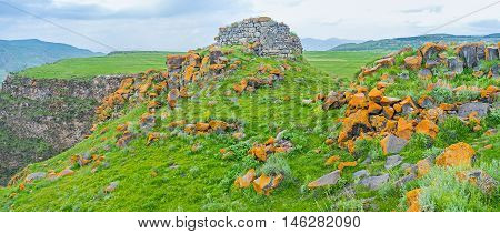The medieval megalithic fortress was located at the of plateau Saro Georgia.
