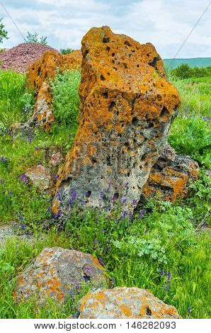 The large boulder covered with the bright yellow lichen Saro Georgia.